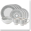 ED Ellen DeGeneres by Royal Doulton Charcoal Grey Lines 16 Piece Set