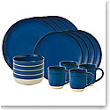 ED Ellen DeGeneres by Royal Doulton Cobalt Blue Brushed Glaze 16 Piece Set