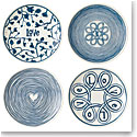 "Royal Doulton Ellen DeGeneres Blue Love Plate 6"" Set of 4 Mixed"