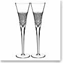 Waterford Crystal, Diamond Line Crystal Flutes, Pair