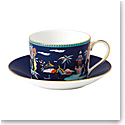 Wedgwood Wonderlust Fine Bone China Teacup and Saucer Set Blue Pagoda