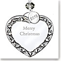 Waterford Crystal 2018 Heart Ornament Merry Christmas