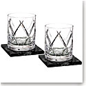 Waterford Crystal, Olann Crystal DOF Tumblers With Marble Coasters, Pair