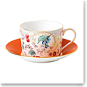 Wedgwood Wonderlust Fine Bone China Teacup and Saucer Set Rococo Flowers