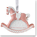 Wedgwood 2018 Babys First Christmas Rocking Horse Pink Ornament