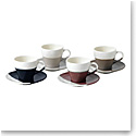Royal Doulton Coffee Studio Espresso Cup and Saucer 3.7 Oz Set of 4 Mixed Colors