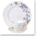Royal Albert Alpha Foodie 3-Piece Set, Teacup Saucer and Plate Pink