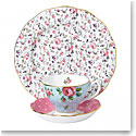 Royal Albert Vintage Mix 3-Piece Set, Teacup, Saucer and Plate Polka Blue, Cheeky Pink and Rose Confetti