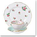 Royal Albert Vintage Mix 3-Piece Set, Teacup, Saucer & Plate Rose Confetti, Polka Rose & Cheeky Pink