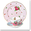 Royal Albert Vintage Mix 3-Piece Set, Teacup, Saucer & Plate Cheeky Pink, Polka Blue & New Country Roses P