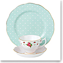 Royal Albert Vintage Mix 3-Piece Set, Teacup, Saucer & Plate New Country Roses White, Rose Confetti & Polk
