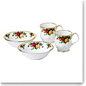 Royal Albert Old Country Roses 4-Piece Breakfast Set, Two Cereal Bowls & Two Montrose Mugs