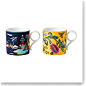 Wedgwood China Wonderlust Mug Set of 2 Blue Pagoda and Yellow Tonquin