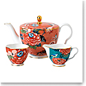 Wedgwood China Paeonia Blush 3 Piece Tea Set, Teapot, Sugar and Creamer