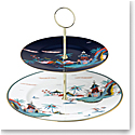 Wedgwood China Wonderlust Cake Stand Two-Tier Blue Pagoda