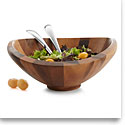 Nambe Metal and Wood Butterfly Salad Bowl With Servers Set