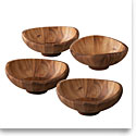 Nambe Wood Butterfly Individual Salad Bowls, Set of 4