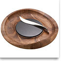Nambe Metal and Wood Butterfly Cheese Tray, With Knife