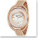 Swarovski Crystalline Oval Watch, Metal bracelet, White, Rose Gold PVD