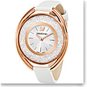 Swarovski Crystalline Oval Watch, Leather strap, White, Rose Gold PVD