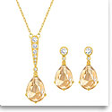 Swarovski Crystal and Gold Vintage Necklace and Pierced Earrings Jewelry Set