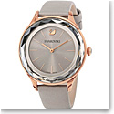 Swarovski Octea Nova Watch, Leather strap, Gray, Rose Gold PVD