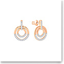 Swarovski Crystal and Rose Gold Circle Pierced Earrings Pair, Medium