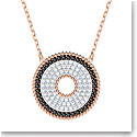 Swarovski Lollypop Jet Black Crystal Rose Gold Pendant Necklace