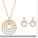 Swarovski Crystal and Rose Gold Circle Necklace and Pierced Earrings Jewelry Set