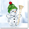 Swarovski Crystal, Snowman With Broom Stick Figurine