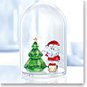 Swarovski Crystal, Bell Jar Christmas Tree and Santa Dome Sculpture