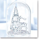 Swarovski Crystal, Bell Jar Pine Tree and Stag Dome Sculpture