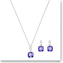 Swarovski Vintage Square Violet and Rhodium Necklace and Pierced Earring Set