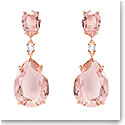 Swarovski Vintage Drop Pierced Earrings, Pink, Rose Gold