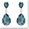 Swarovski Vintage Teal and Rhodium Drop Pierced Earrings Pair