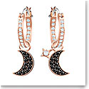 Swarovski Duo Black and Rose Gold Moon Hoop Pierced Earrings Pair