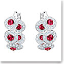 Swarovski Angelic Ruby Crystal and Rhodium Hoop Pierced Earrings Pair