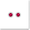 Swarovski Angelic Ruby Crystal and Rhodium Pierced Earrings Pair