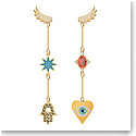 Swarovski Jewelry, Lucky Goddess Pierced Earrings Multi Colored Gold