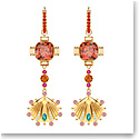 Swarovski Jewelry, Lucky Goddess Pierced Earrings Shell Multi Colored Gold