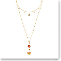 Swarovski Jewelry, Lucky Goddess Necklace Double Multi Colored Gold