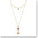 Swarovski Jewelry, Lucky Goddess Necklace Double Multi Colored Gold