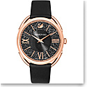 Swarovski line Glam Watch Leather Strap Black Rose Gold