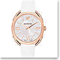 Swarovski Crystalline Glam Watch, Leather Strap, White, Rose Gold
