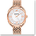 Swarovski Crystalline Glam Watch, Metal bracelet, White, Rose Gold PVD
