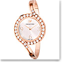 Swarovski Lovely Crystals Bangle Watch, Metal bracelet, White, Rose Gold