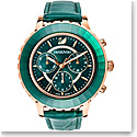 Swarovski Octea Lux Chrono Watch, Leather Strap, Green, Rose Gold PVD