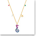 Swarovski Jewelry, Ocean Pendant Seahorse Multi-Color Gold