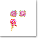 Swarovski Jewelry, No Regrets Pierced Earrings Ice Cream Multi Colored Gold