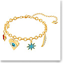Swarovski Jewelry, Lucky Goddess Bracelet Charms Multi Colored Gold Medium